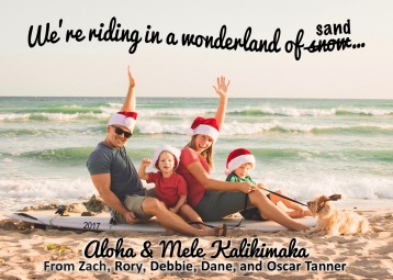 This year's Christmas card - front side. We figured since it was our last year in Hawaii, we just HAD to do a beach picture!